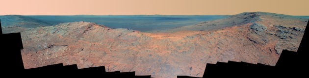 (Opportunity Overlooking Endeavor Crater – False Color)