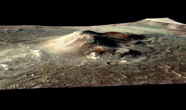 Mars Volcanic Cone with Hydrothermal Deposits